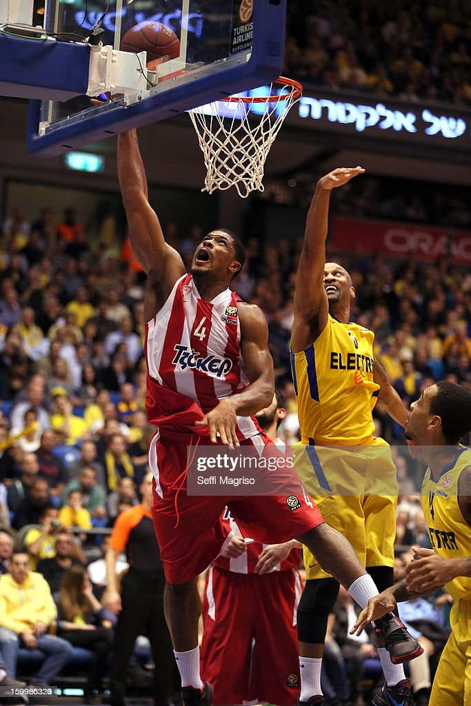 Kyle Hines, #4 of Olympiacos Piraeus in action during the 2012-2013 Turkish Airlines Euroleague Top 16 Date 5 between Maccabi Electra Tel Aviv v Olympiacos Piraeus at Nokia Arena on January 24, 2013 in Tel Aviv, Israel.