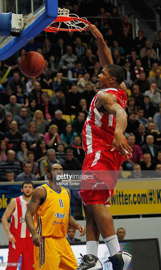 Kyle Hines, #4 of Olympiacos Piraeus in action during the 2012-2013 Turkish Airlines Euroleague Top 16 Date 7 between BC Khimki Moscow Region v Olympiacos Piraeus at Basketball Center of Moscow on February 15, 2013 in Moscow, Russia.