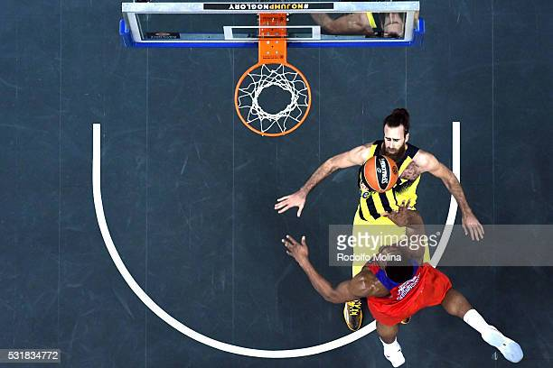 Kyle Hines #42 of CSKA Moscow commits foul aginst Luigi Datome #70 of Fenerbahce Istanbul during the Turkish Airlines Euroleague Basketball Final...