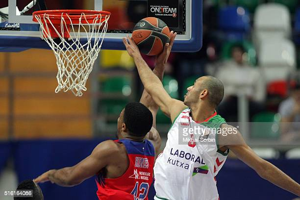 Kyle Hines #42 of CSKA Moscow competes with Adam Hanga #8 of Laboral Kutxa Vitoria Gasteiz in action during the 20152016 Turkish Airlines Euroleague...