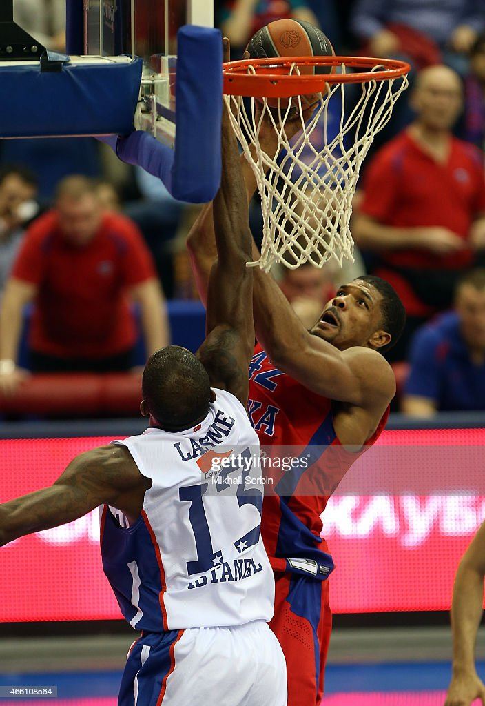 Kyle Hines, #42 of CSKA Moscow competes with <a gi-track='captionPersonalityLinkClicked' href=/galleries/search?phrase=Stephane+Lasme&family=editorial&specificpeople=814288 ng-click='$event.stopPropagation()'>Stephane Lasme</a>, #13 of Anadolu Efes Istanbul in action during the Turkish Airlines Euroleague Basketball Top 16 Date 10 game between CSKA Moscow v Anadolu Efes Istanbul at USH CSKA on March 13, 2015 in Moscow, Russia.