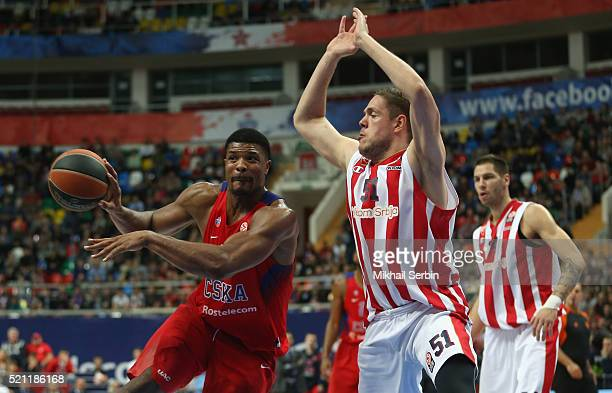 Kyle Hines #42 of CSKA Moscow competes with Vladimir Stimac #51 of Crvena Zvezda Telekom Belgrade in action during the 20152016 Turkish Airlines...