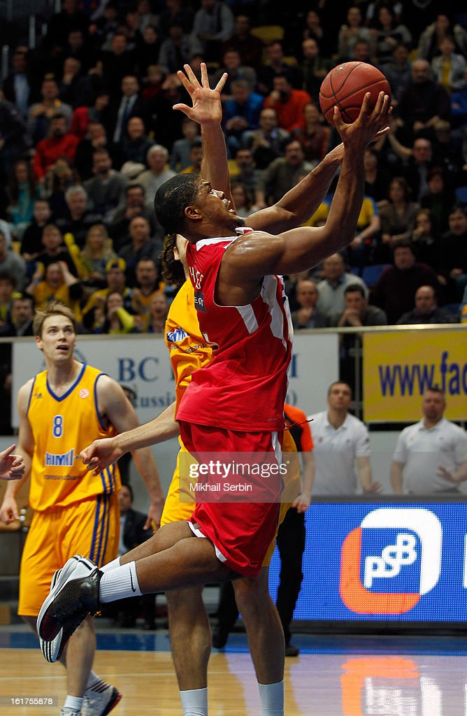 Kyle Hines,#4 of Olympiacos Piraeus in action during the 2012-2013 Turkish Airlines Euroleague Top 16 Date 7 between BC Khimki Moscow Region v Olympiacos Piraeus at Basketball Center of Moscow on February 15, 2013 in Moscow, Russia.