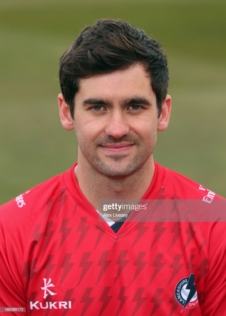 Kyle Hogg of Lancashire CCC wears the T20 kit during a pre-season photocall at Old Trafford on April 2, 2013 in Manchester, England.
