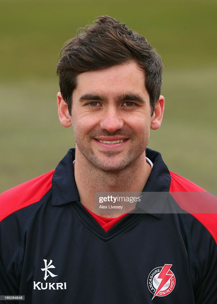 Kyle Hogg of Lancashire CCC wears the Yorkshire 40 during a pre-season photocall at Old Trafford on April 2, 2013 in Manchester, England.
