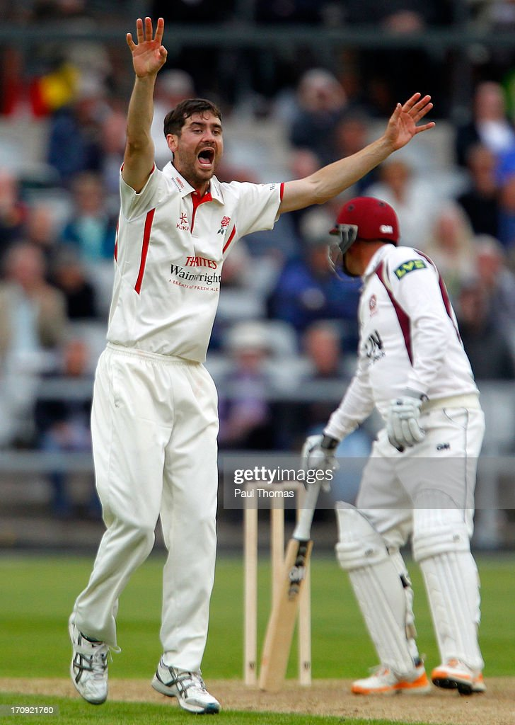 Kyle Hogg of Lancashire successfully appeals for the wicket of Northants batsman Andrew Hall during day one of the LV County Championship Division Two match between Lancashire and Northamptonshire at Old Trafford on June 20, 2013 in Manchester, England.