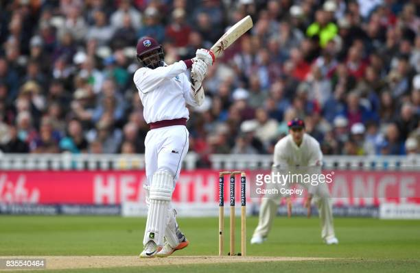 Kyle Hope of the West Indies bats during day three of the 1st Investec Test between England and the West Indies at Edgbaston on August 19 2017 in...