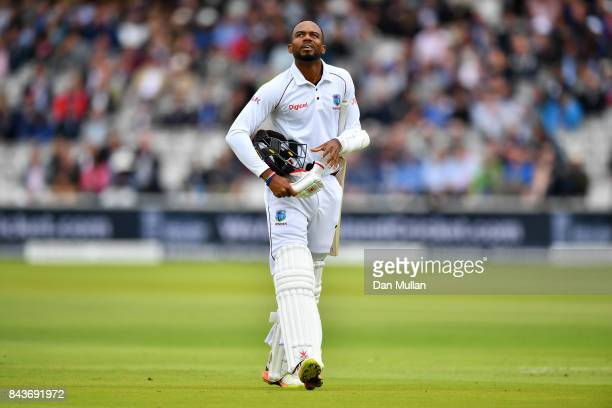 Kyle Hope of the West Indies leaves the field dejected after being dismissed by James Anderson of England during day one of the 3rd Investec Test...