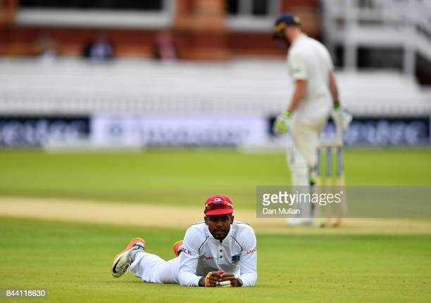 Kyle Hope of the West Indies reacts after dropping Ben Stokes of England during day two of the 3rd Investec Test Match between England and the West...