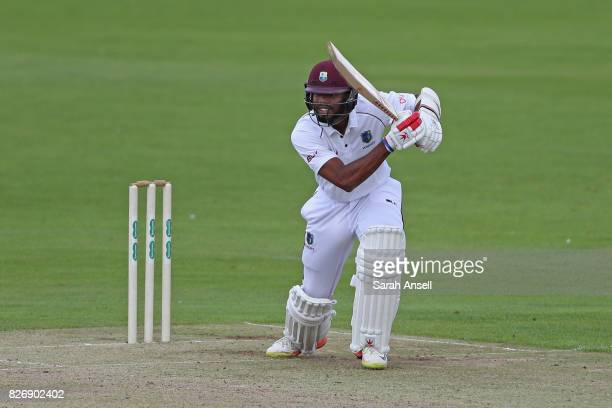 Kyle Hope of West Indies hits a boundary during day one of the tour match between Kent and West Indies at The Spitfire Ground on August 6 2017 in...