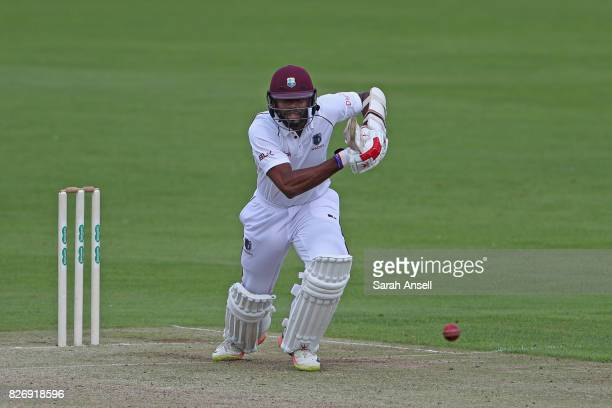 Kyle Hope of West Indies hits out during day one of the tour match between Kent and West Indies at The Spitfire Ground on August 6 2017 in Canterbury...