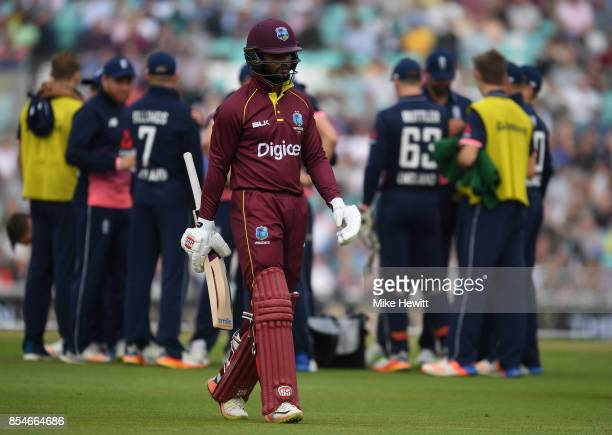Kyle Hope of West Indies makes his way back to the pavilion after being dismissed by Chris Woakes of England during the 4th Royal London One Day...