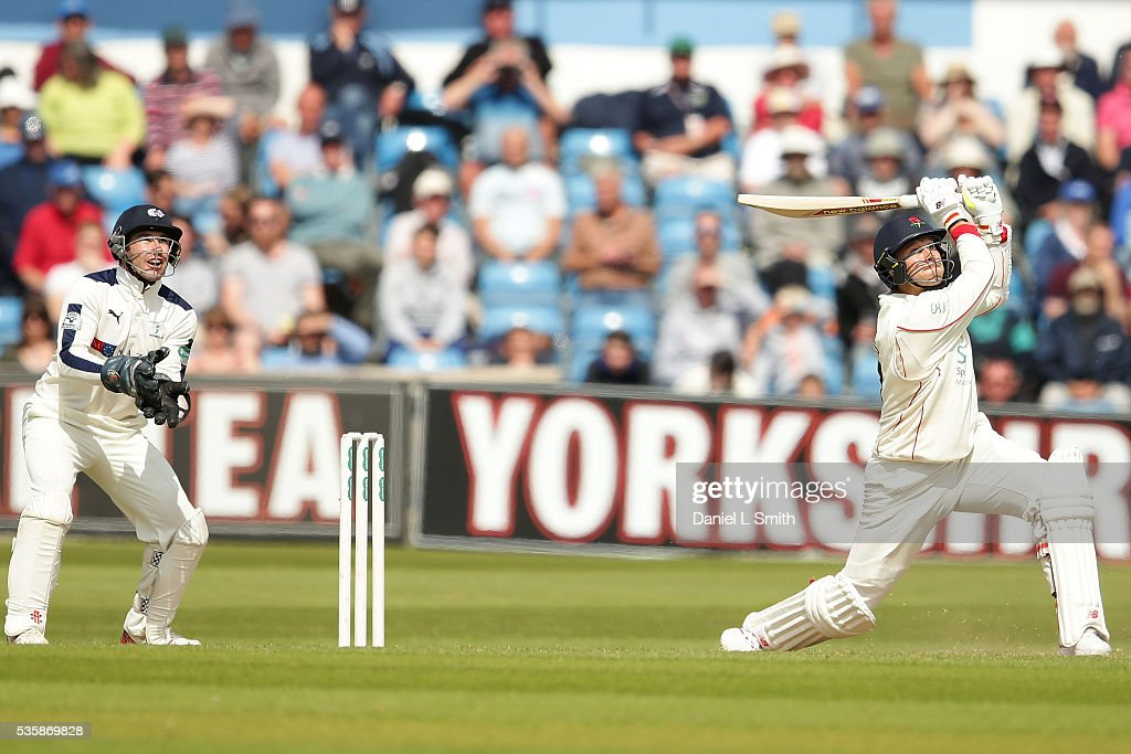 Kyle Jarvis of Lancashire bats during day two of the Specsavers County Championship: Division One match between Yorkshire and Lancashire at Headingley on May 30, 2016 in Leeds, England.