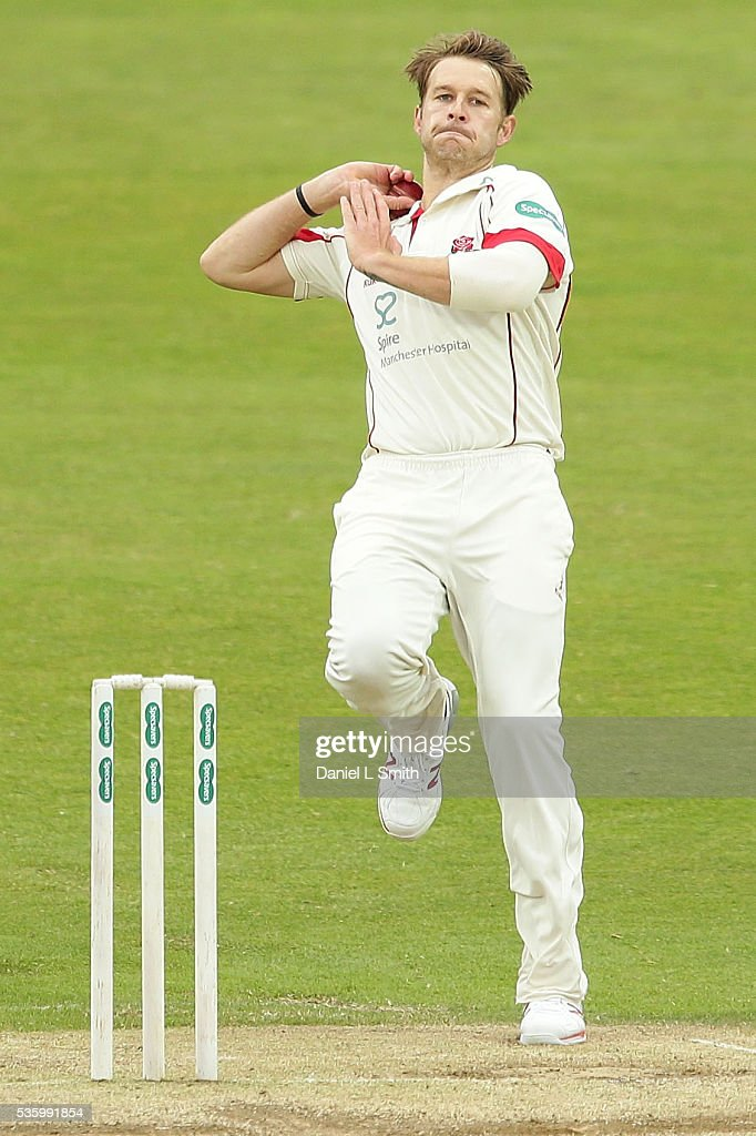 Kyle Jarvis of Lancashire bowls during day three of the Specsavers County Championship: Division One match between Yorkshire and Lancashire at Headingley on May 31, 2016 in Leeds, England.