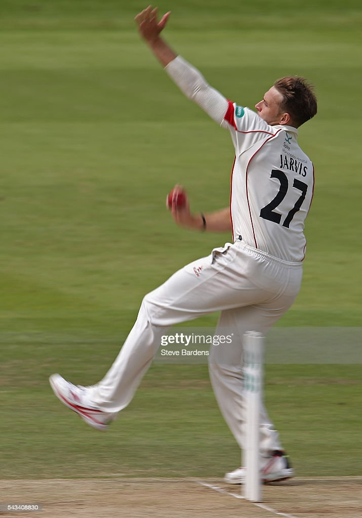 Kyle Jarvis of Lancashire bowls during day three of the Specsavers County Championship division one match between Middlesex and Lancashire at Lords on June 28, 2016 in London, England.