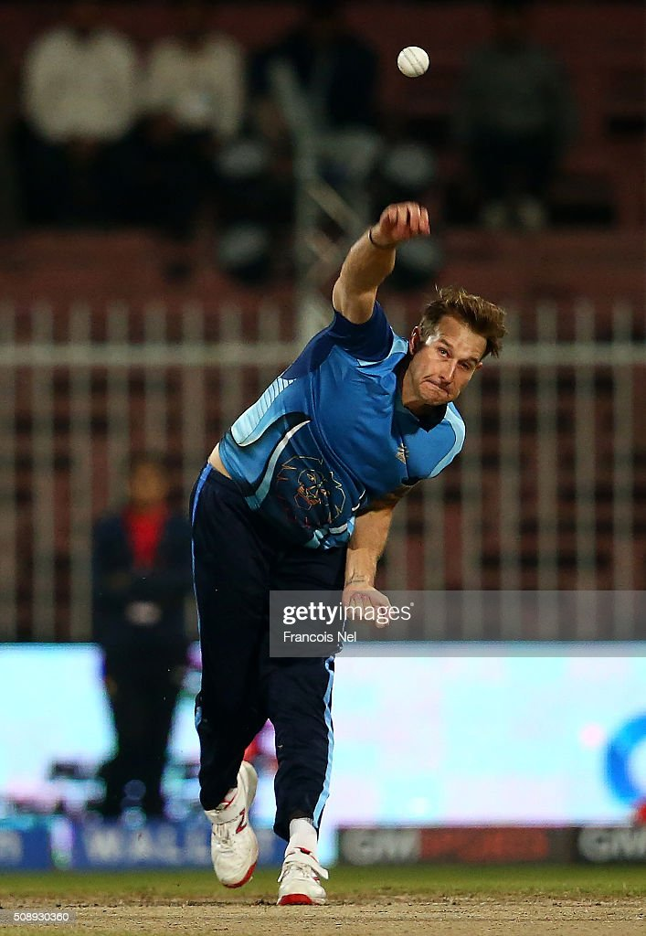 Kyle Jarvis of Leo Lions bowls during the Oxigen Masters Champions League match between the Libra Legends and Leo Lions on February 7, 2016 in Sharjah, United Arab Emirates.