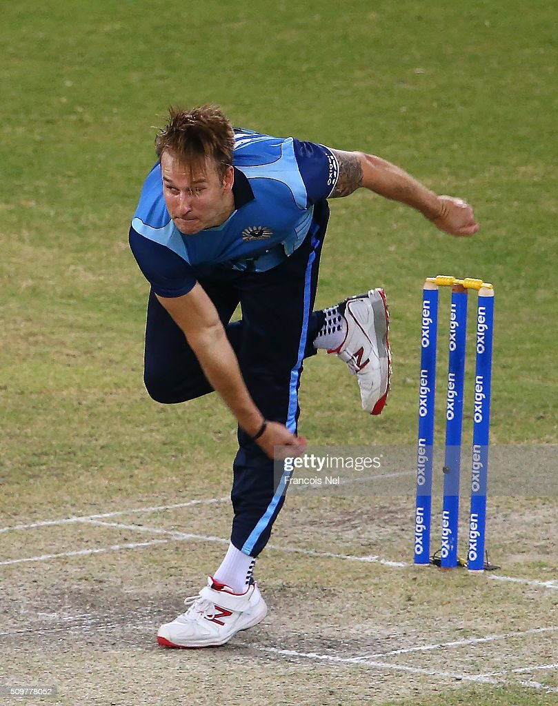 Kyle Jarvis of Leo Lions bowls during the Oxigen Masters Champions League Semi Final match between Leo Lions and Virgo Super Kings at Dubai International Cricket Stadium on February 12, 2016 in Dubai, United Arab Emirates.