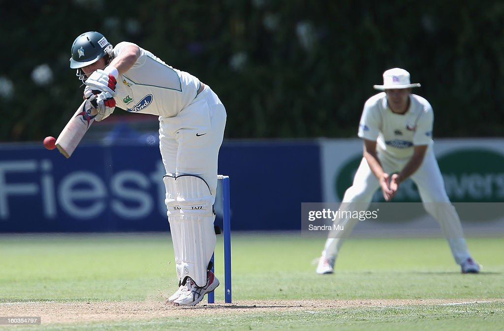 Kyle Jarvis of the Aces bats on day one of the Plunket Shield match between the Auckland Aces and the Central Stags January 30, 2013 in Auckland, New Zealand.