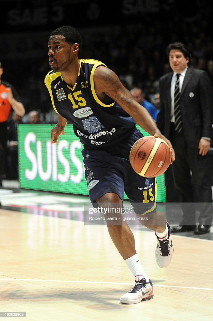 Kyle Johnson of Sutor in action during the LegaBasket Serie A match between Virtus Bologna SAIE3 and Sutor Montegranaro at Unipol Arena on February 3, 2013 in Bologna, Italy.