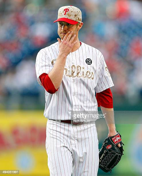 Kyle Kendrick after being relieved against the Colorado Rockies in a game at Citizens Bank Park on May 26 2014 in Philadelphia Pennsylvania
