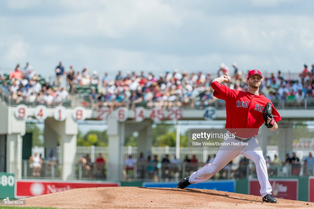 Kyle Kendrick #25 of the Boston Red Sox delivers during the first inning of a Spring Training game against the New York Yankees on February 28, 2017 at Fenway South in Fort Myers, Florida .