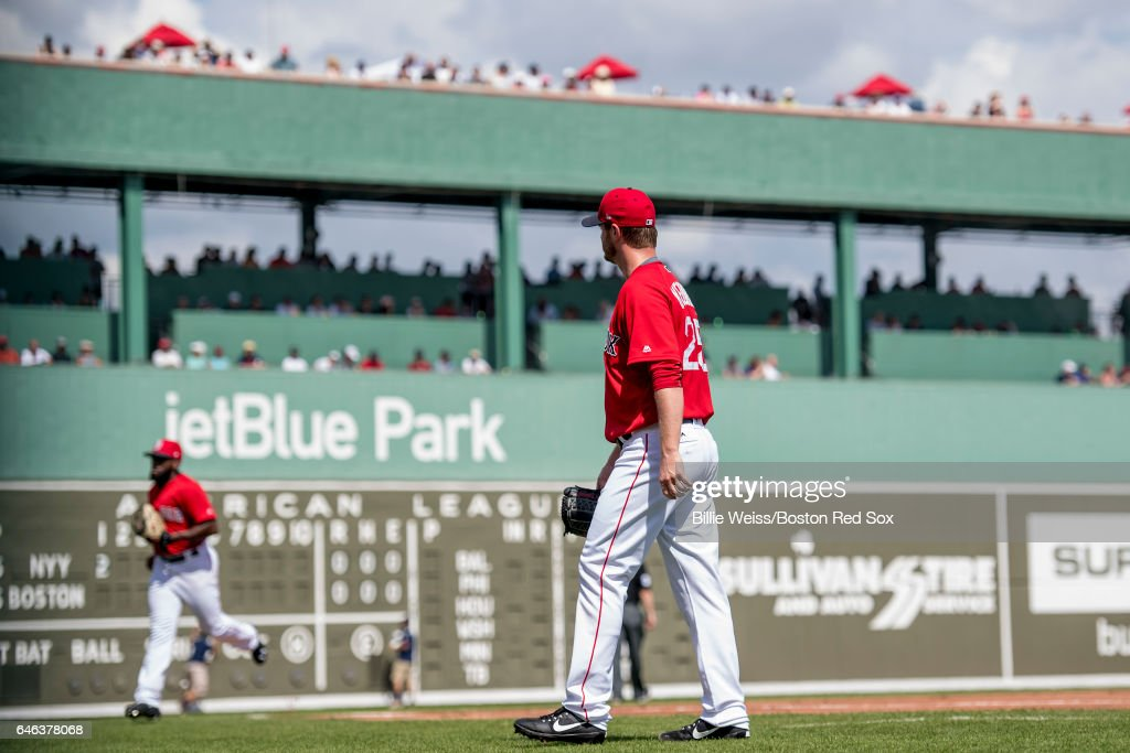 Kyle Kendrick #25 of the Boston Red Sox walks off the mound during the first inning of a Spring Training game against the New York Yankees on February 28, 2017 at Fenway South in Fort Myers, Florida .