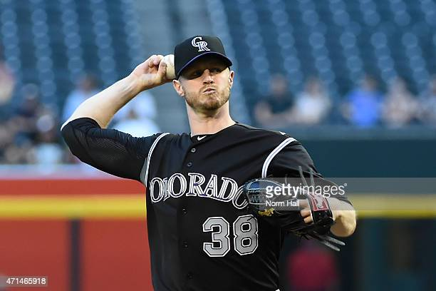 Kyle Kendrick of the Colorado Rockies delivers a firstinning pitch against the Arizona Diamondbacks at Chase Field on April 28 2015 in Phoenix Arizona