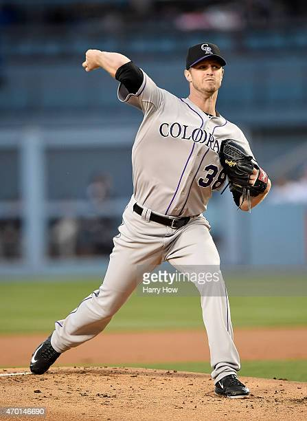 Kyle Kendrick of the Colorado Rockies pitches against the Los Angeles Dodgers during the first inning at Dodger Stadium on April 17 2015 in Los...