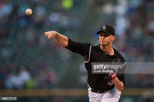 Kyle Kendrick of the Colorado Rockies pitches against the Los Angeles Dodgers in the first inning of a game at Coors Field on September 26 2015 in...