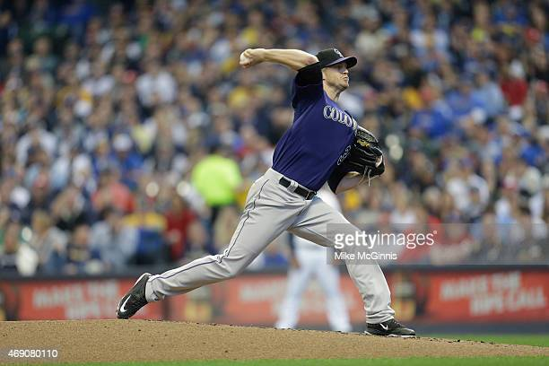 Kyle Kendrick of the Colorado Rockies pitches against the Milwaukee Brewers on Opening Day at Miller Park on April 06 2015 in Milwaukee Wisconsin