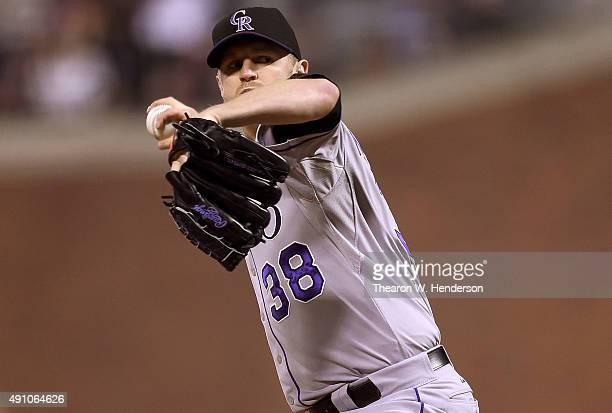 Kyle Kendrick of the Colorado Rockies pitches against the San Francisco Giants in the bottom of the first inning at ATT Park on October 2 2015 in San...