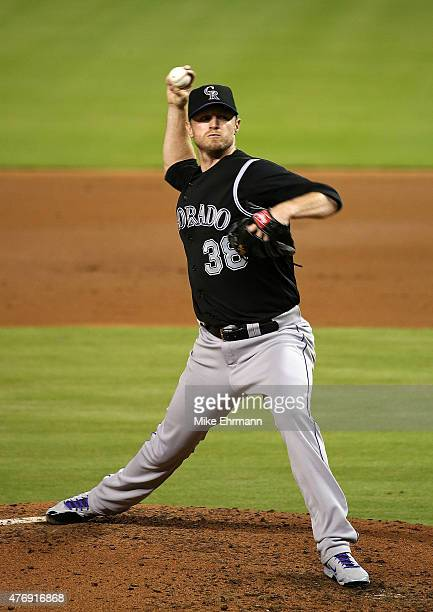 Kyle Kendrick of the Colorado Rockies pitches during a game against the Miami Marlins at Marlins Park on June 12 2015 in Miami Florida