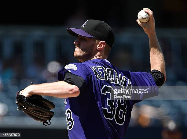 Kyle Kendrick of the Colorado Rockies pitches during the first inning of a baseball game against the San Diego Padres at Petco Park September 7 2015...