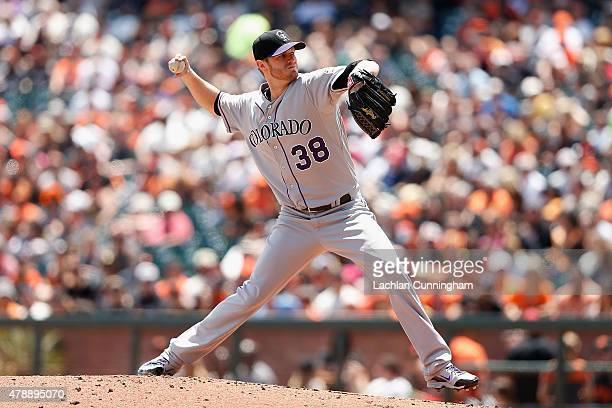 Kyle Kendrick of the Colorado Rockies pitches in the first inning against the San Francosco Giants at ATT Park on June 28 2015 in San Francisco...