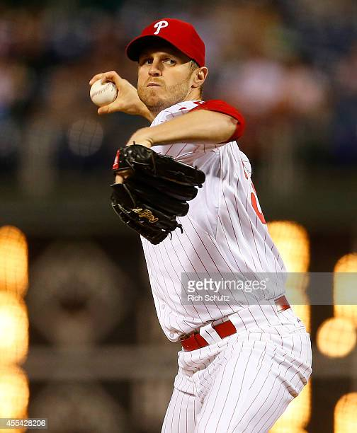 Kyle Kendrick of the Philadelphia Phillies delivers a pitch against the Miami Marlins during a game at Citizens Bank Park on September 13 2014 in...