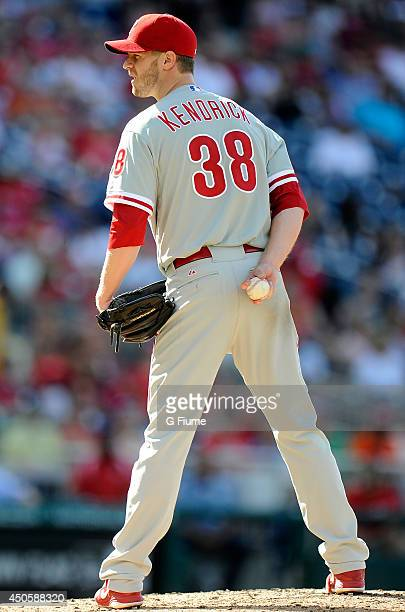 Kyle Kendrick of the Philadelphia Phillies pitches against the Washington Nationals at Nationals Park on June 5 2014 in Washington DC