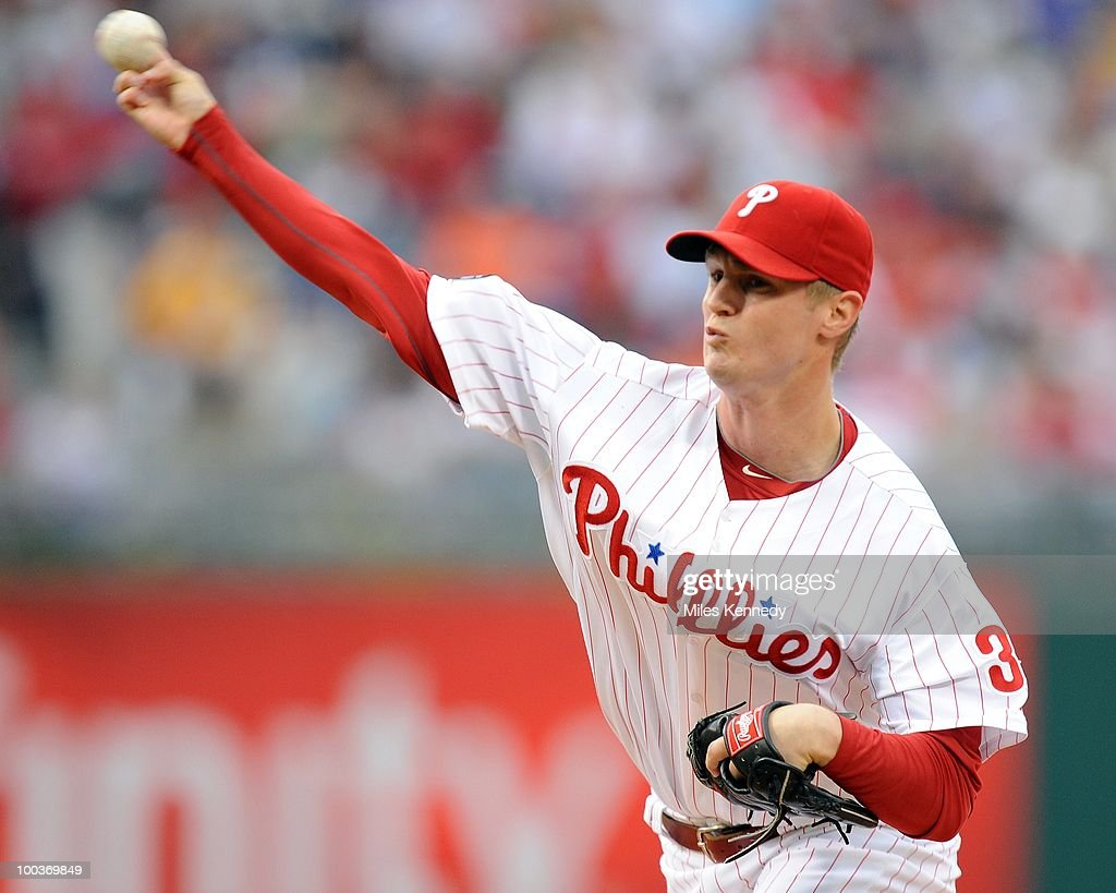 Kyle Kendrick #38 of the Philadelphia Phillies pitches against the Boston Red Sox in the first inning on May 22, 2010 at Citizens Bank Park in Philadelphia, Pennsylvania. The Red Sox won 5-0.