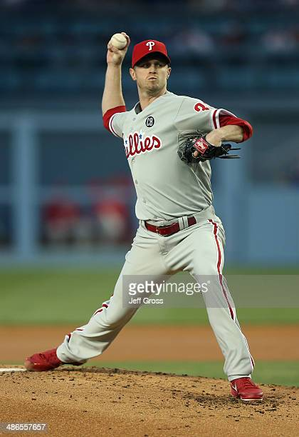 Kyle Kendrick of the Philadelphia Phillies pitches against the Los Angeles Dodgers in the first inning at Dodger Stadium on April 24 2014 in Los...