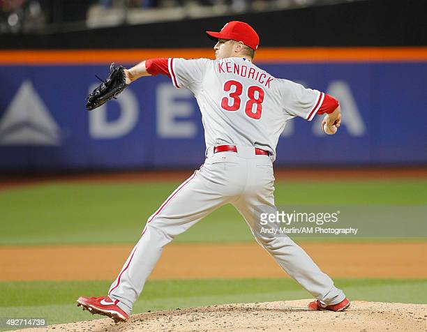 Kyle Kendrick of the Philadelphia Phillies pitches against the New York Mets during the game at Citi Field on May 10 2014 in the Flushing...