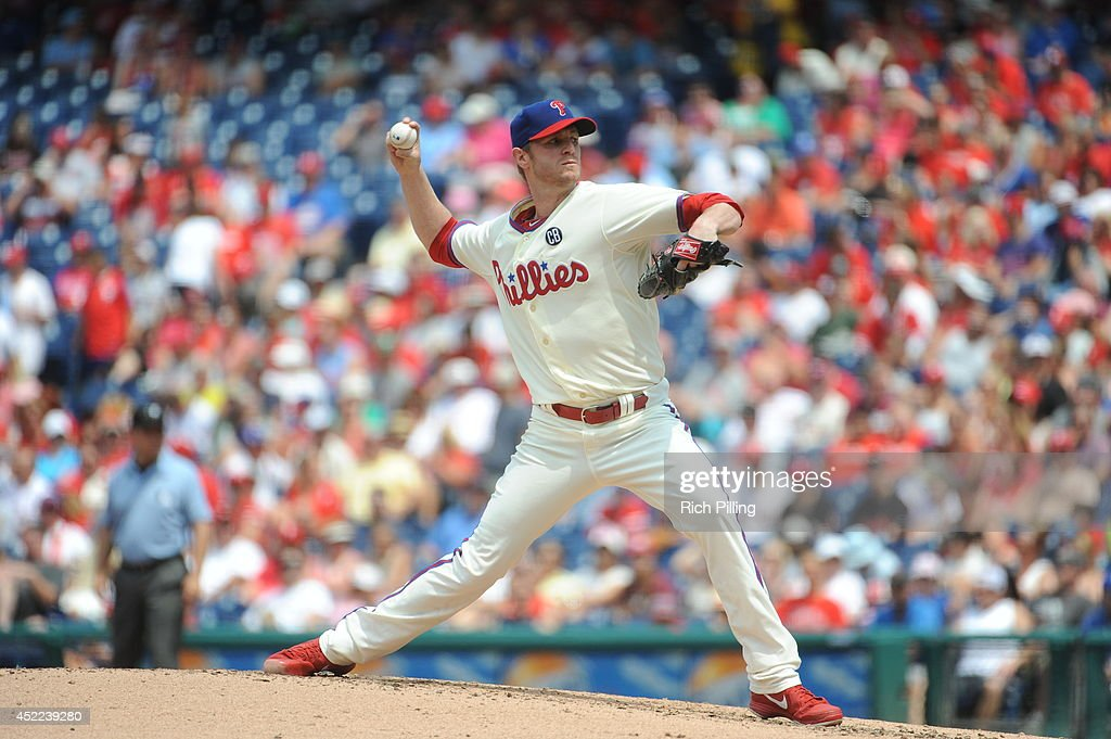 <a gi-track='captionPersonalityLinkClicked' href=/galleries/search?phrase=Kyle+Kendrick&family=editorial&specificpeople=4365300 ng-click='$event.stopPropagation()'>Kyle Kendrick</a> #38 of the Philadelphia Phillies pitches against the Washington Nationals on Sunday, July 13, 2014 at Citizens Bank Park in Philadelphia, Pennsylvania. The Nationals defeated the Phillies 10-3.