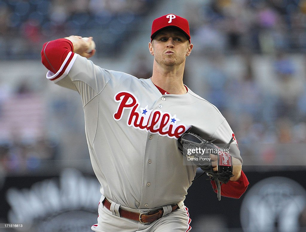 <a gi-track='captionPersonalityLinkClicked' href=/galleries/search?phrase=Kyle+Kendrick&family=editorial&specificpeople=4365300 ng-click='$event.stopPropagation()'>Kyle Kendrick</a> #38 of the Philadelphia Phillies pitches during the first inning of a baseball game against the San Diego Padres at Petco Park on June 25, 2013 in San Diego, California.