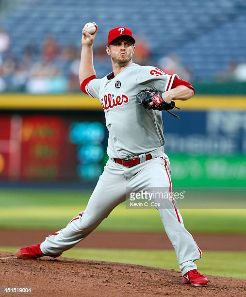 Kyle Kendrick of the Philadelphia Phillies pitches in the first inning to the Atlanta Braves at Turner Field on September 2 2014 in Atlanta Georgia