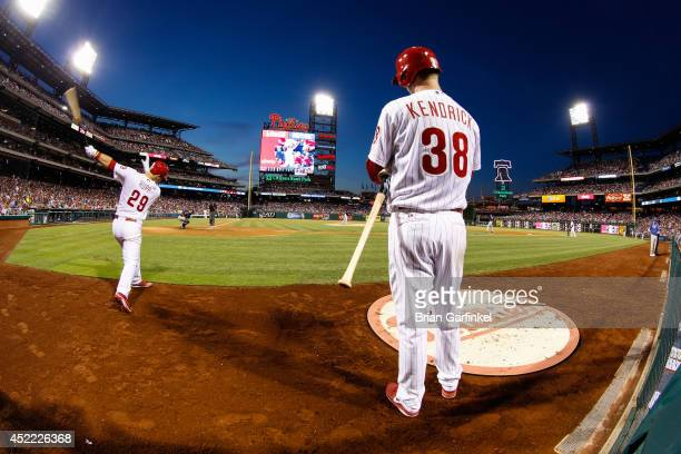 Kyle Kendrick of the Philadelphia Phillies stands in the on deck area during the game against the Atlanta Braves at Citizens Bank Park on June 27...