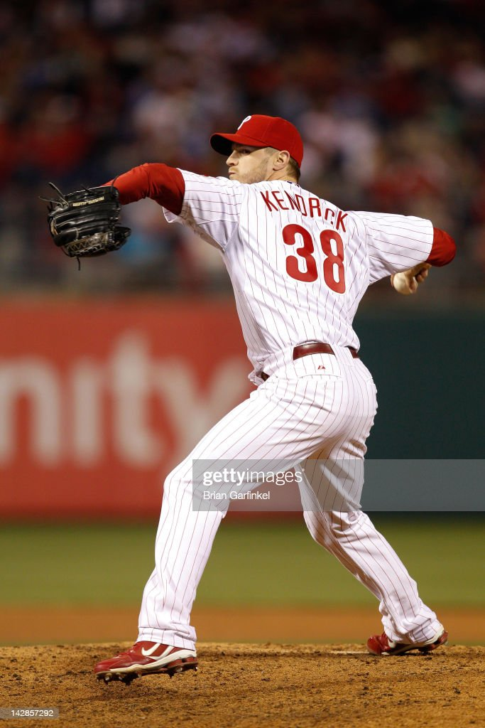 <a gi-track='captionPersonalityLinkClicked' href=/galleries/search?phrase=Kyle+Kendrick&family=editorial&specificpeople=4365300 ng-click='$event.stopPropagation()'>Kyle Kendrick</a> #38 of the Philadelphia Phillies throws a pitch during the game against the New York Mets at Citizens Bank Park on April 13, 2012 in Philadelphia, Pennsylvania. The Mets won 5-2.