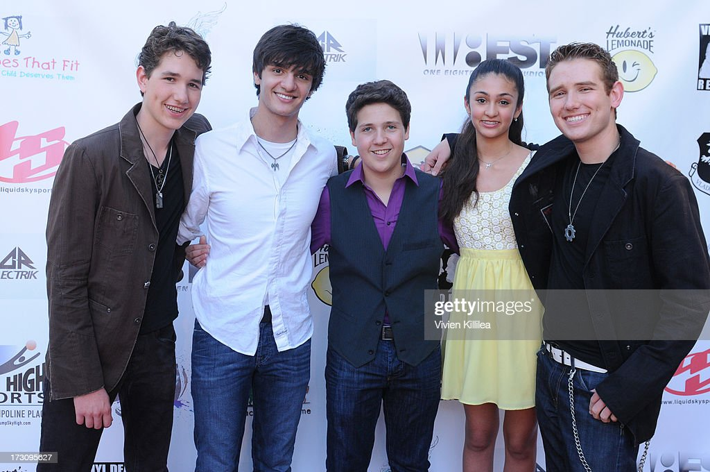 Kyle Klein, Drew Leon, Zach Louis, Isabella Leon and Jeremy Klein attend Shoe Crews Summer Concert on July 6, 2013 in Simi Valley, California.