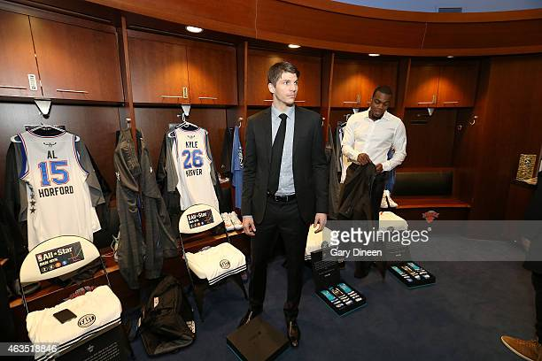 Kyle Korver and Paul Millsap of the Eastern Conference AllStars arrive in the locker room prior to the 64th NBA AllStar Game presented by Kia as part...