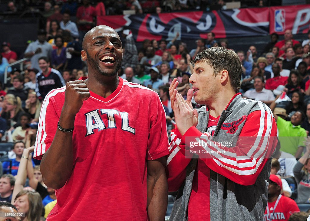 Kyle Korver #26 of the Atlanta Hawks and Anthony Tolliver #4 of the Atlanta Hawks celebrate during the Game Three of the Eastern Conference Quarterfinals between the Indiana Pacers and the Atlanta Hawks in the 2013 NBA Playoffs on April 27, 2013 at Philips Arena in Atlanta, Georgia.