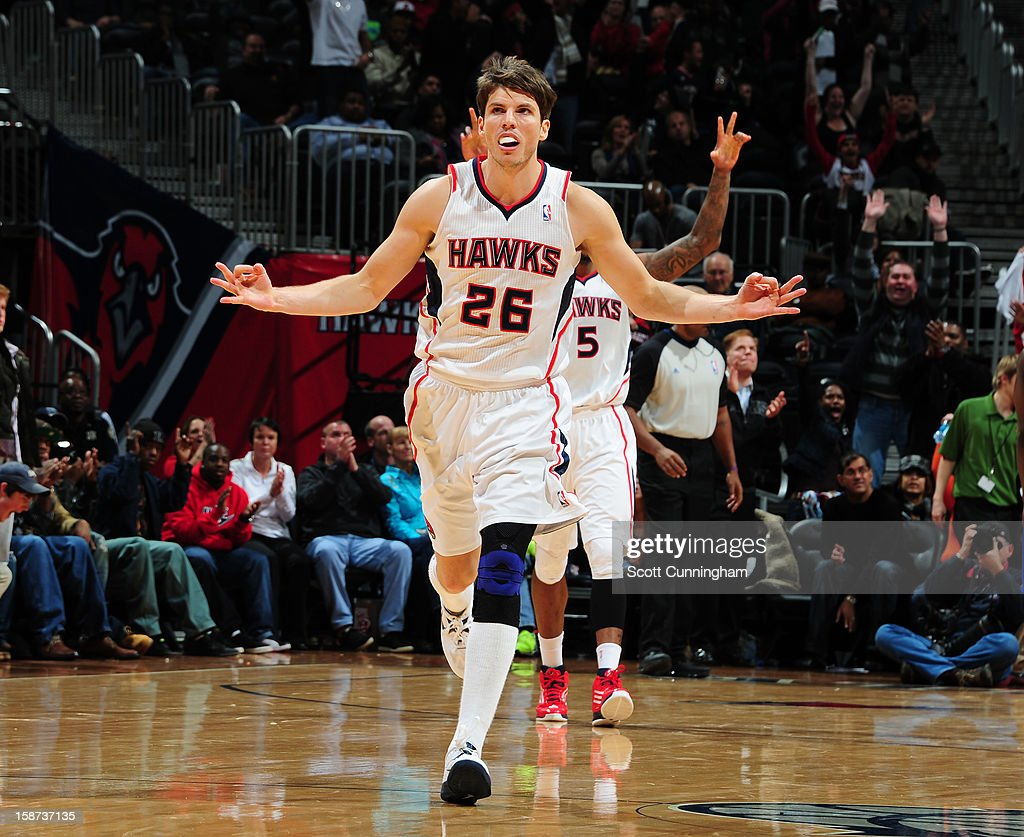 Kyle Korver #26 of the Atlanta Hawks celebrates during the game against the Detroit Pistons on December 26, 2012 at Philips Arena in Atlanta, Georgia.
