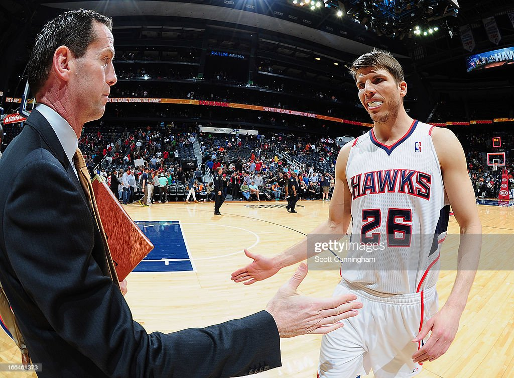 <a gi-track='captionPersonalityLinkClicked' href=/galleries/search?phrase=Kyle+Korver&family=editorial&specificpeople=202504 ng-click='$event.stopPropagation()'>Kyle Korver</a> #26 of the Atlanta Hawks comes off the court against the Milwaukee Bucks on April 12, 2013 at Philips Arena in Atlanta, Georgia.