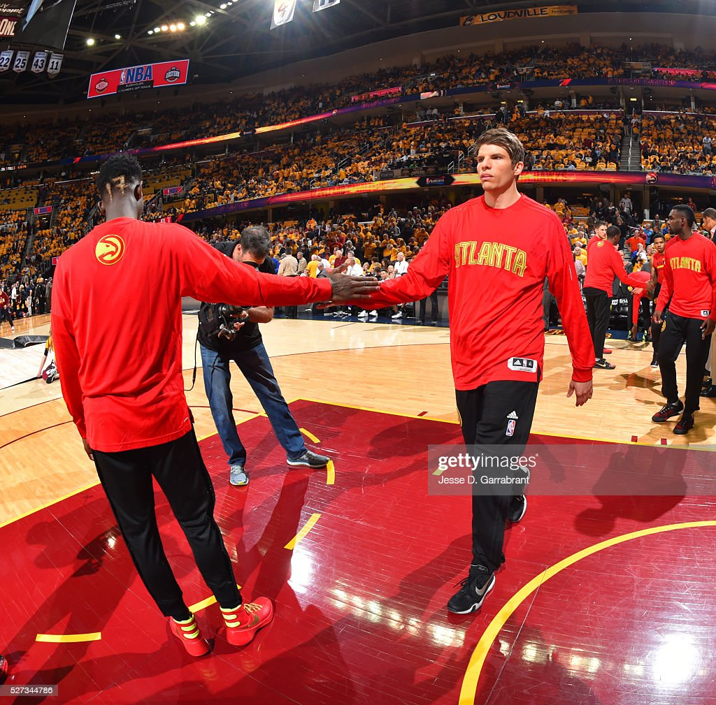 Kyle Korver #26 of the Atlanta Hawks comes out to the crowd prior to the game against the Cleveland Cavaliers during the Eastern Conference Semifinals Game One on May 2, 2016 at The Quicken Loans Arena in Cleveland, Ohio.